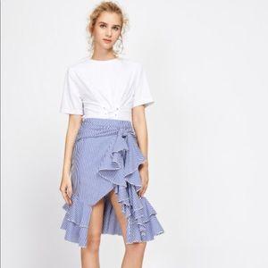 Dresses & Skirts - Knotted Waist Overlap Flounce Trim Skirt